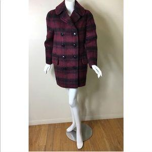 NWOT Coach plaid long alpaca wool blend coat